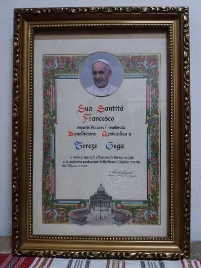 Çertefikatë nga papa françesku për tereza gegën